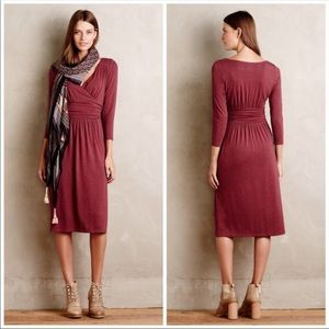 Maeve Mauve Berry Burgundy V-neck 3/4 Knit Dress M